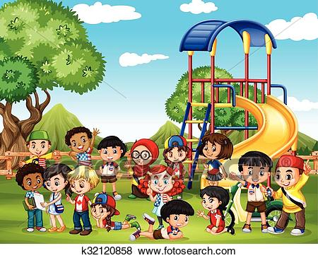 Children playing in the park Clip Art.