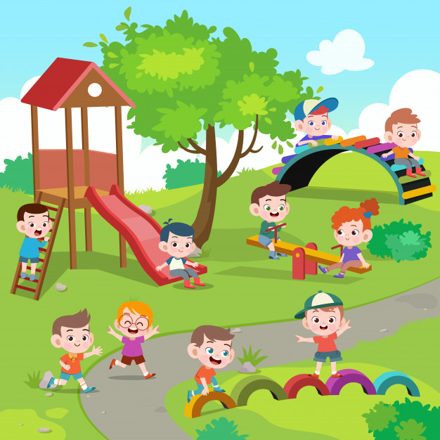 Kids children playing playground illustration Vector.
