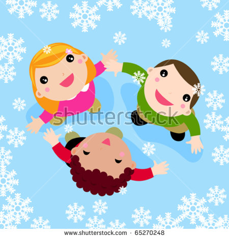 Children Sliding Down Hill Winter Activities Stock Vector.