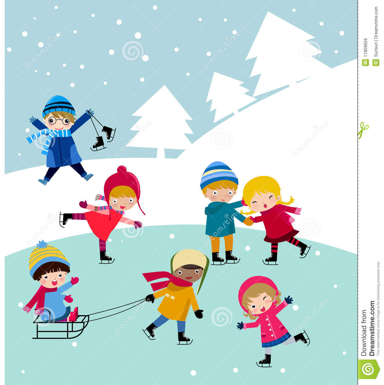 Kids Join Snow Stock Photography.