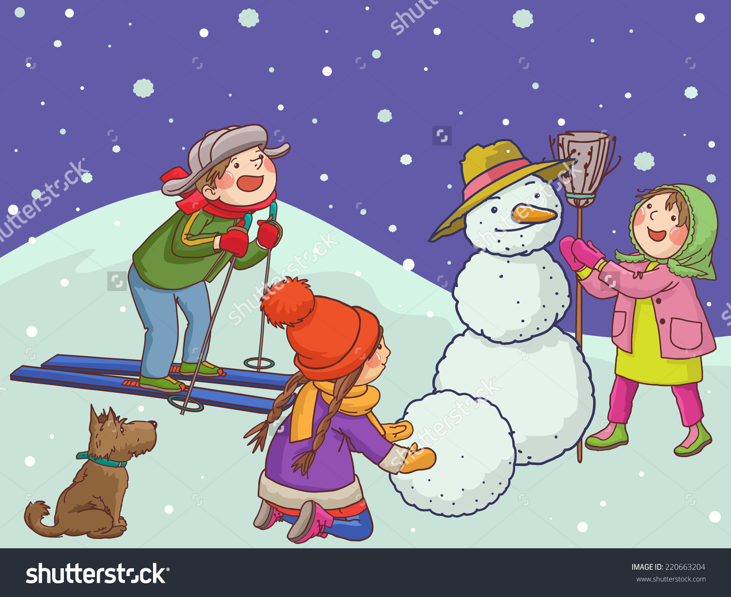 Children Playing Snow Merry Christmas Winter Stock Vector.