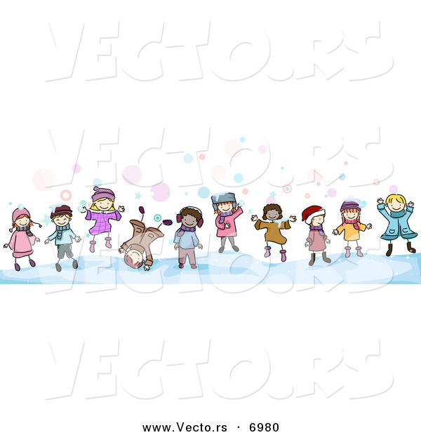Vector of Cartoon Doodled Kids Playing in the Snow by BNP Design.