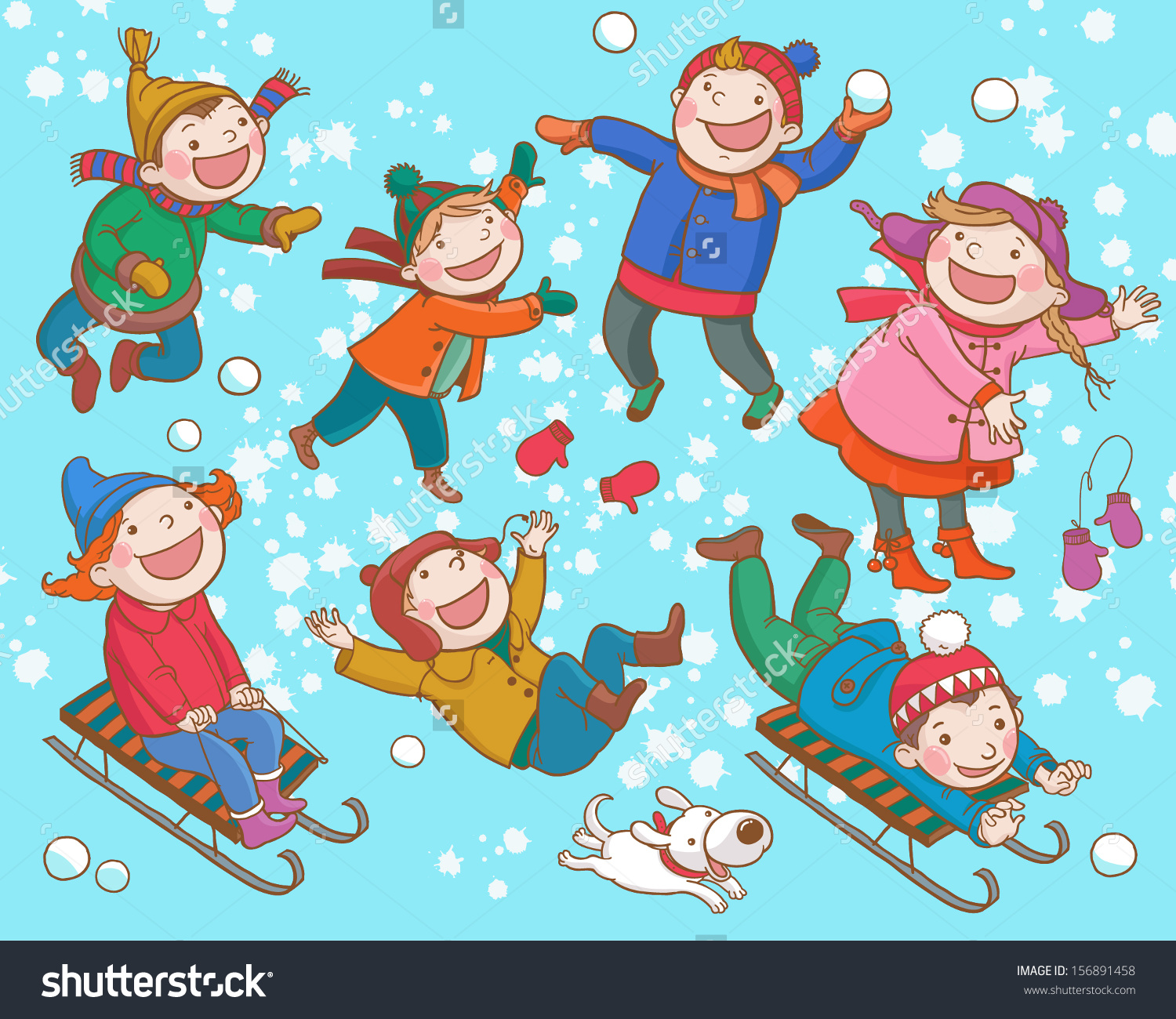 Children Playing Snow Winter Activities Isolated Stock Vector.