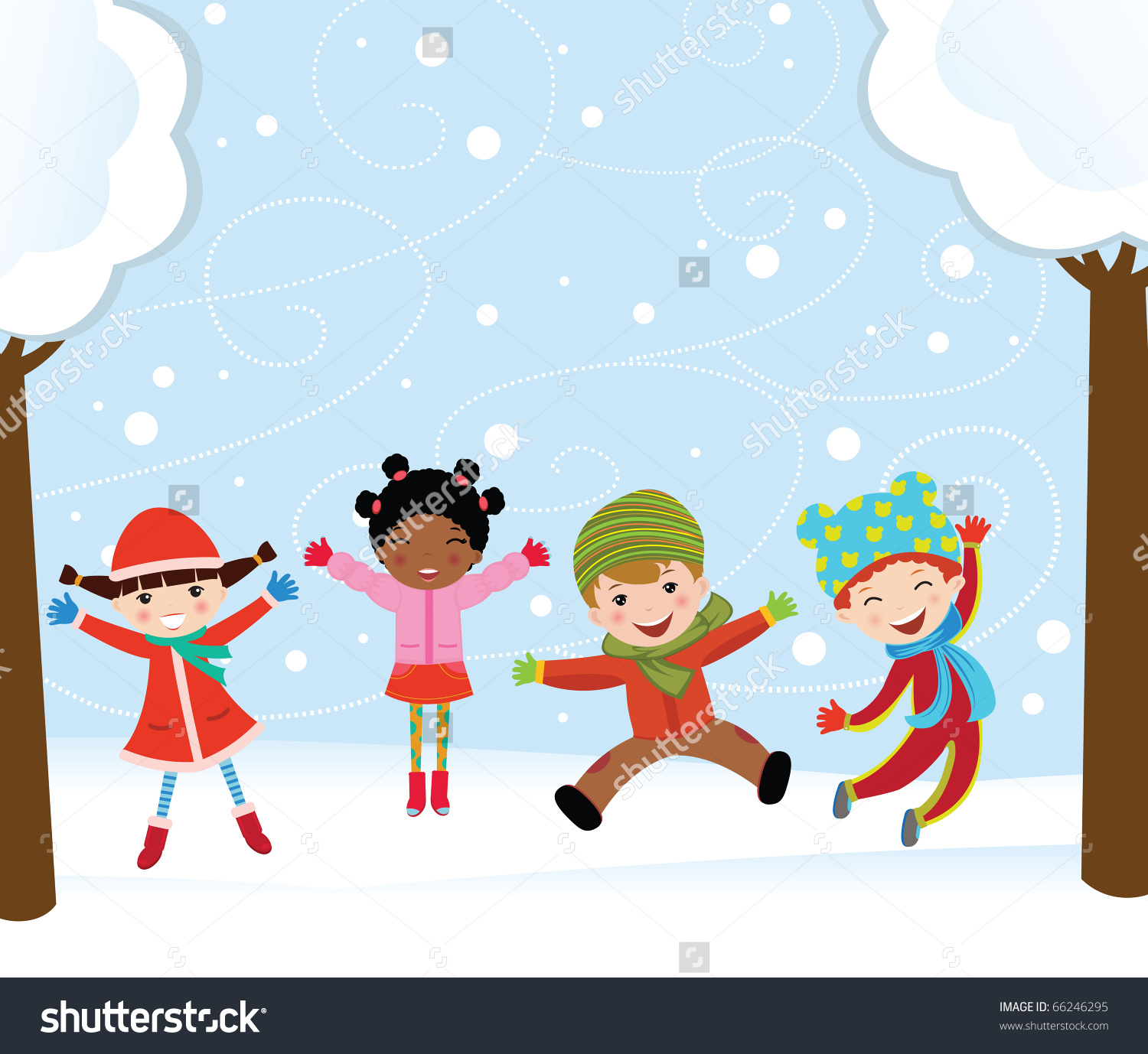 Happy Kids Playing Snow Stock Vector 66246295.