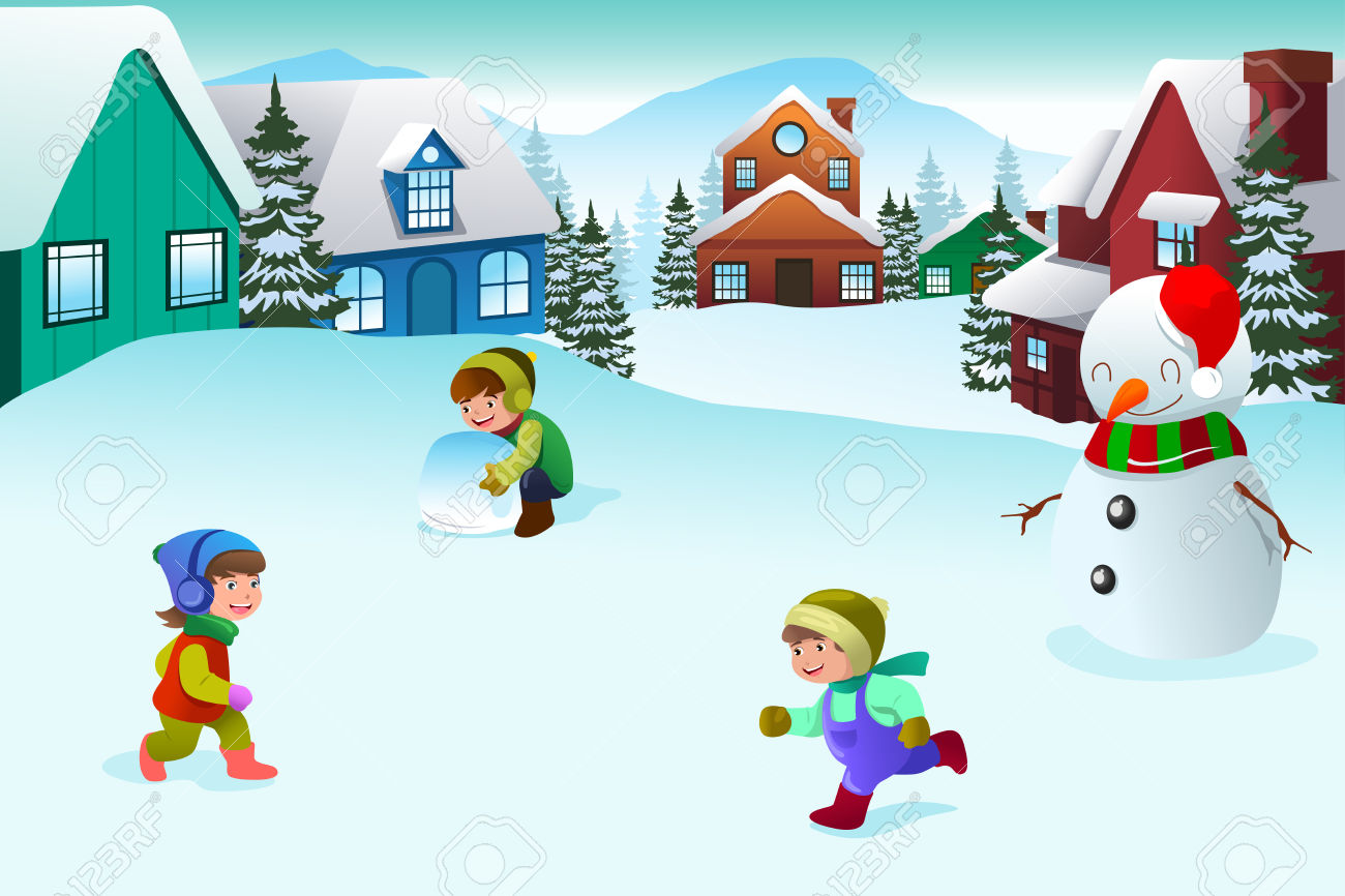 1,061 Child Playing In Snow Stock Vector Illustration And Royalty.