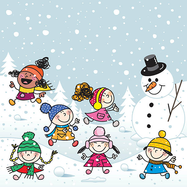 Drawing Of The Kids Playing In Snow Clip Art, Vector Images.
