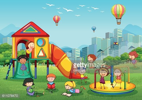 Children playing at playground in city park Clipart Image.