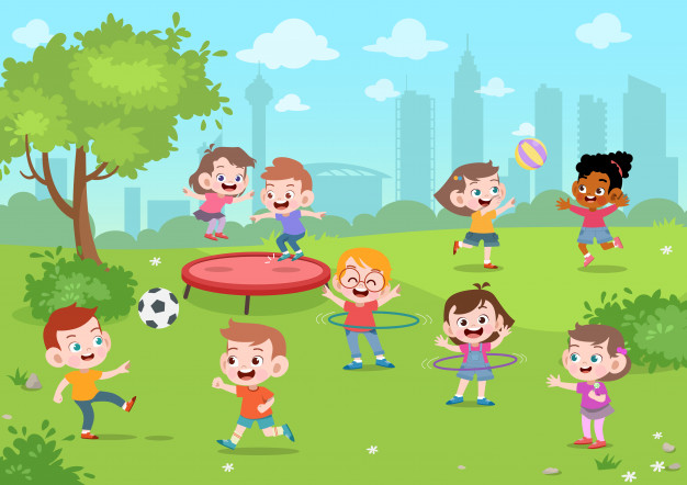 Kids play in the park vector illustration Vector.