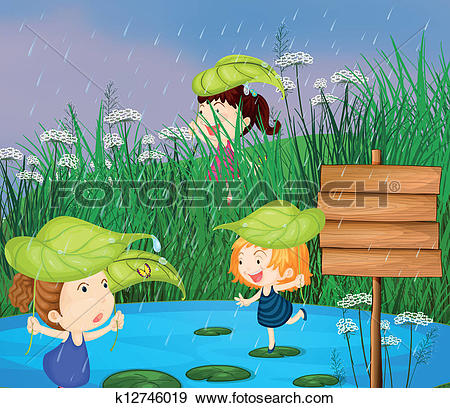 Clip Art of Kids playing in the rain k12746019.
