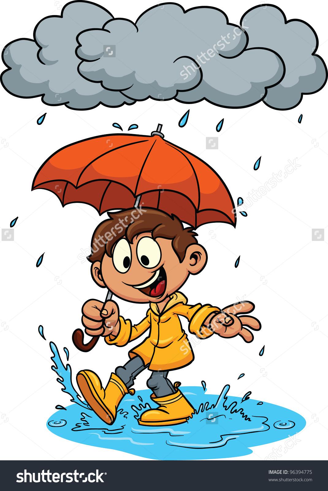 Cartoon Kid Playing Rain Vector Illustration Stock Vector 96394775.