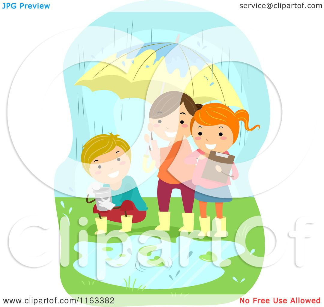 Cartoon of Happy Children Conducting an Experiment in the Rain.