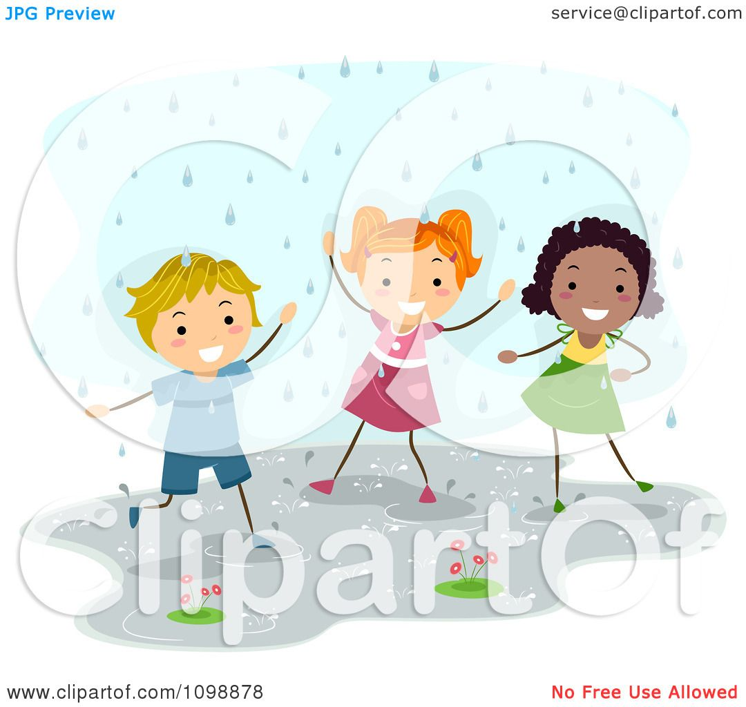 Clipart Happy Diverse Children Playing In The Rain.