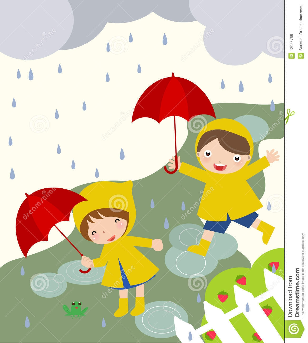 Children Playing In The Rain Clipart.