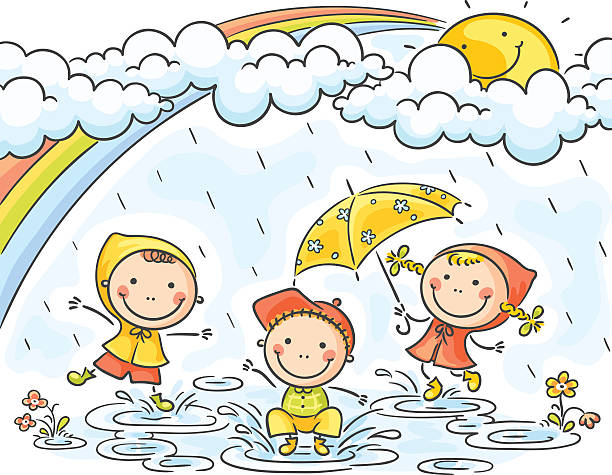 Children Playing In The Rain Drawings Clip Art, Vector Images.