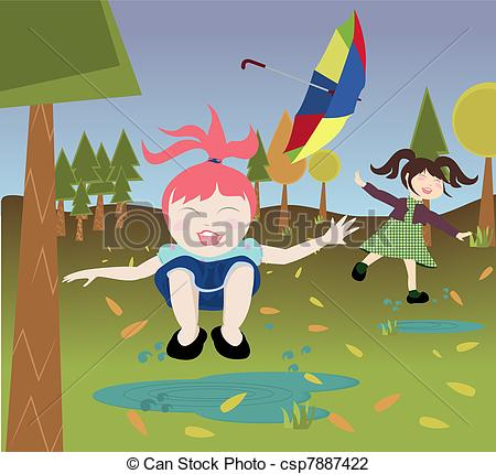 Vector Illustration of Kids playing in nature.