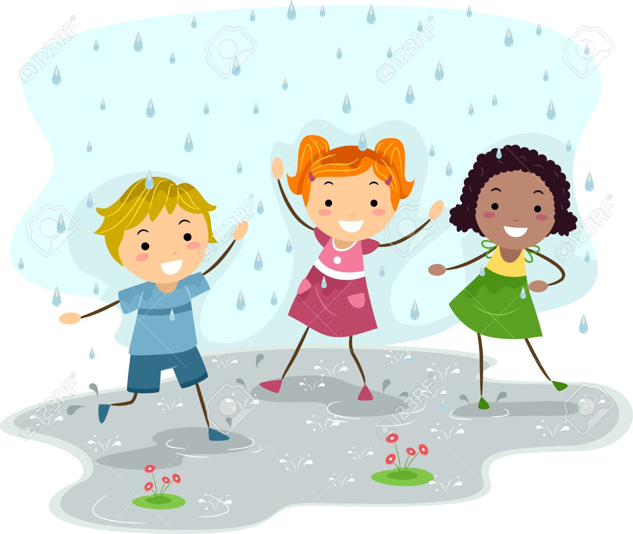 Illustration Of Kids Playing In The Rain Stock Photo, Picture And.