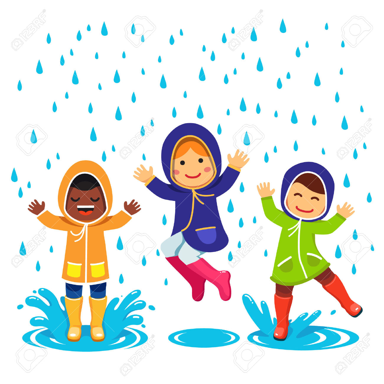 Kids In Raincoats And Rubber Boots Playing In The Rain. Children.