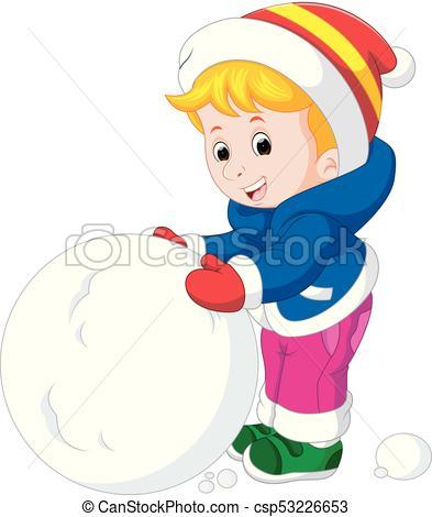 cartoon kids playing with snow.