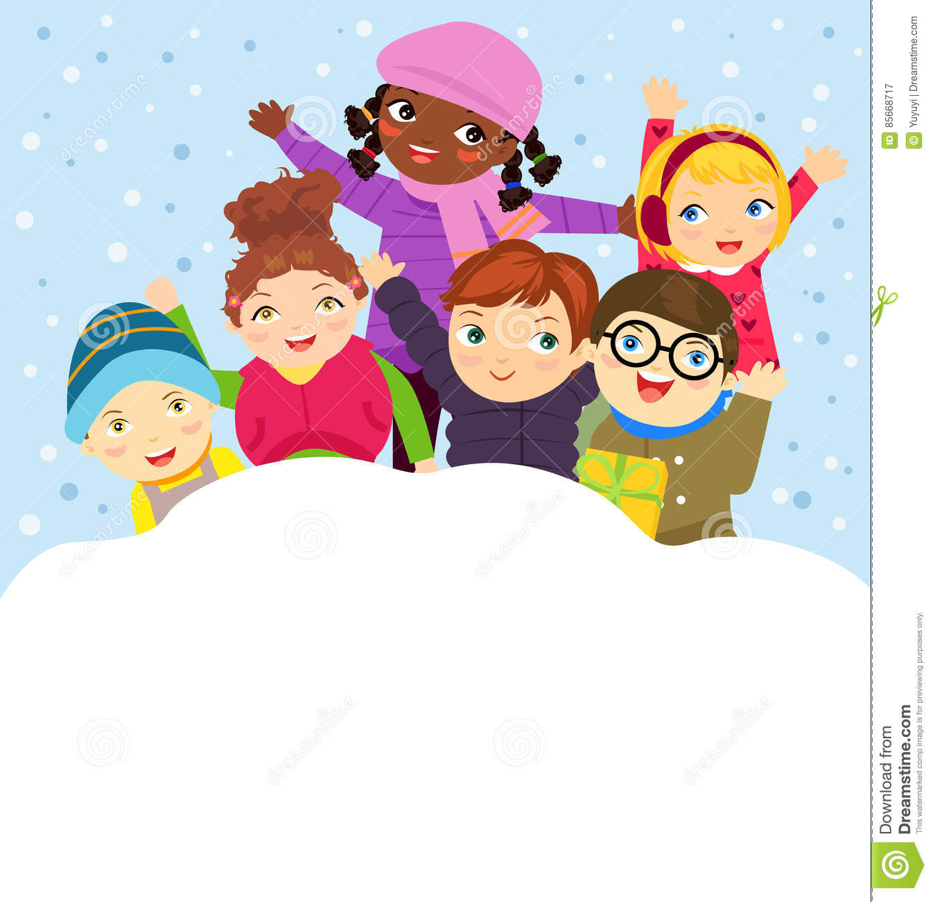 Children Playing Snow Stock Illustrations.