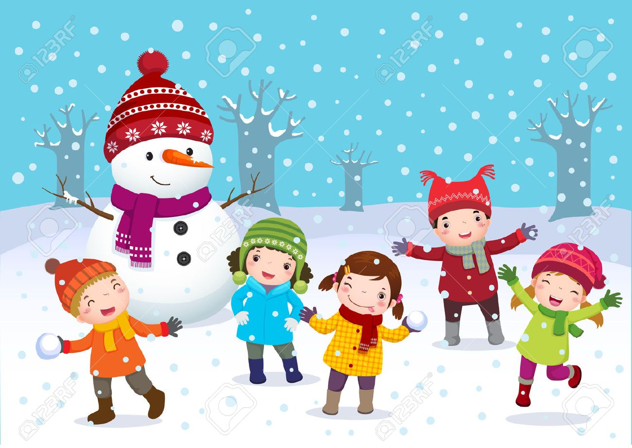 Illustration of kids playing outdoors in winter.