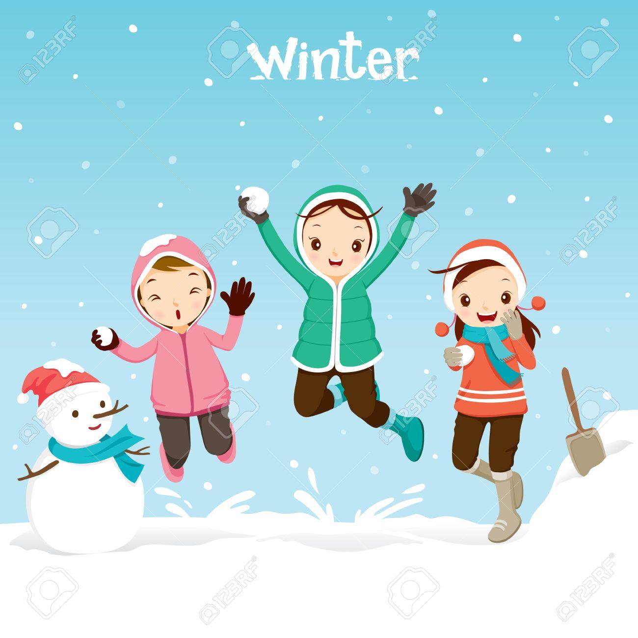 Children Playing Snow Together, Activity, Travel, Winter, Season,...