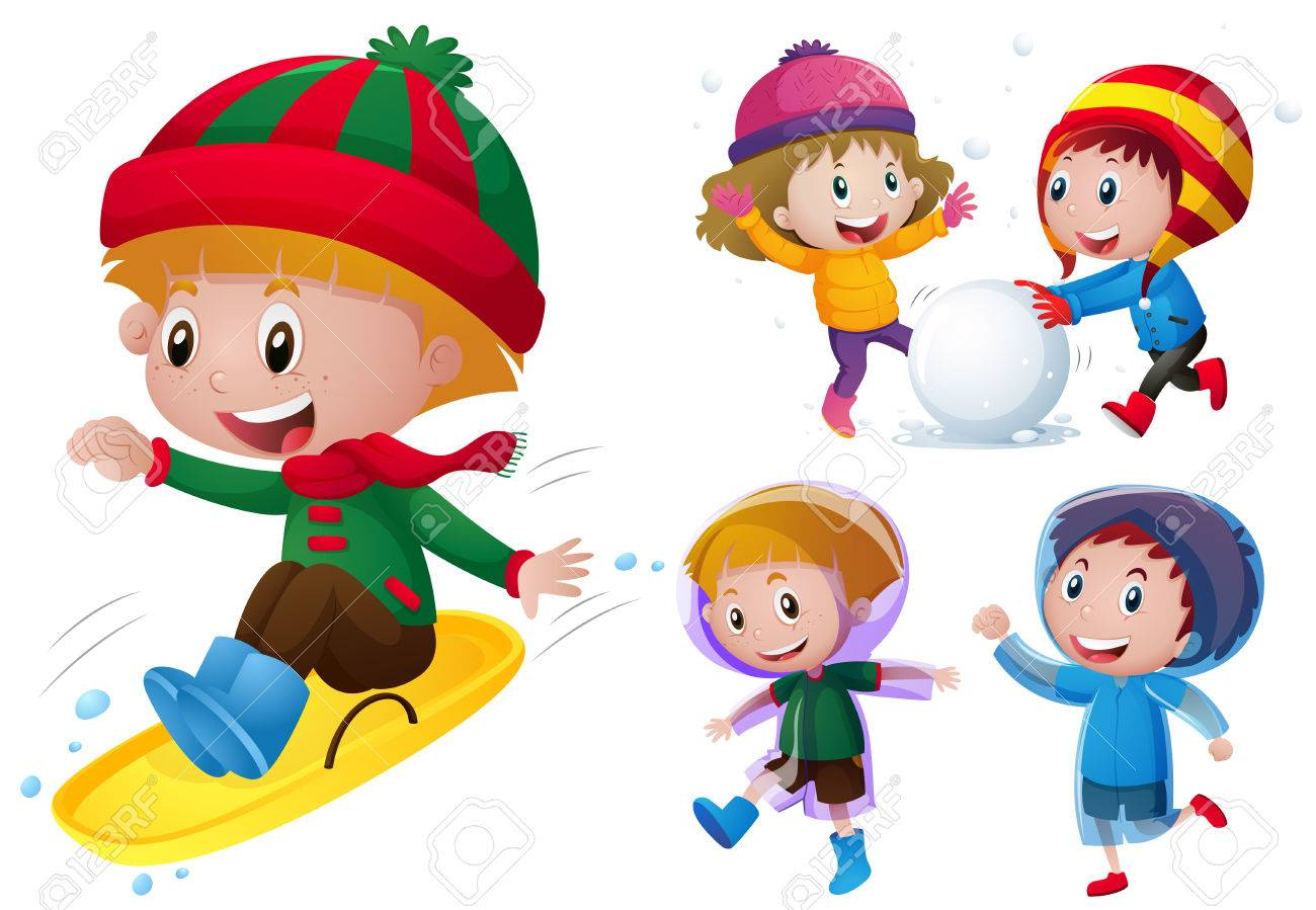 Kids playing with snow and rain illustration.