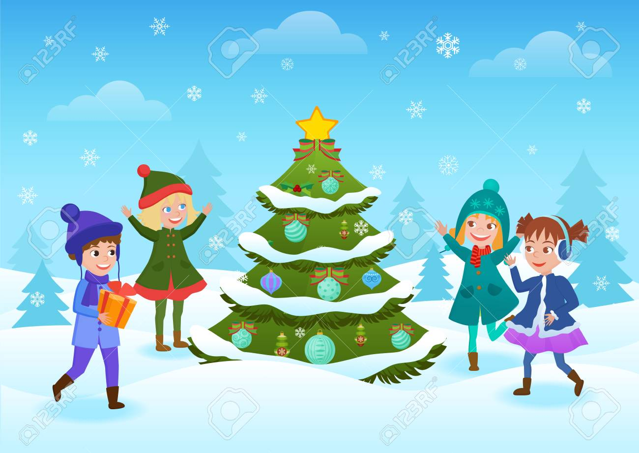 Kids playing in the snow with Christmas tree icon..