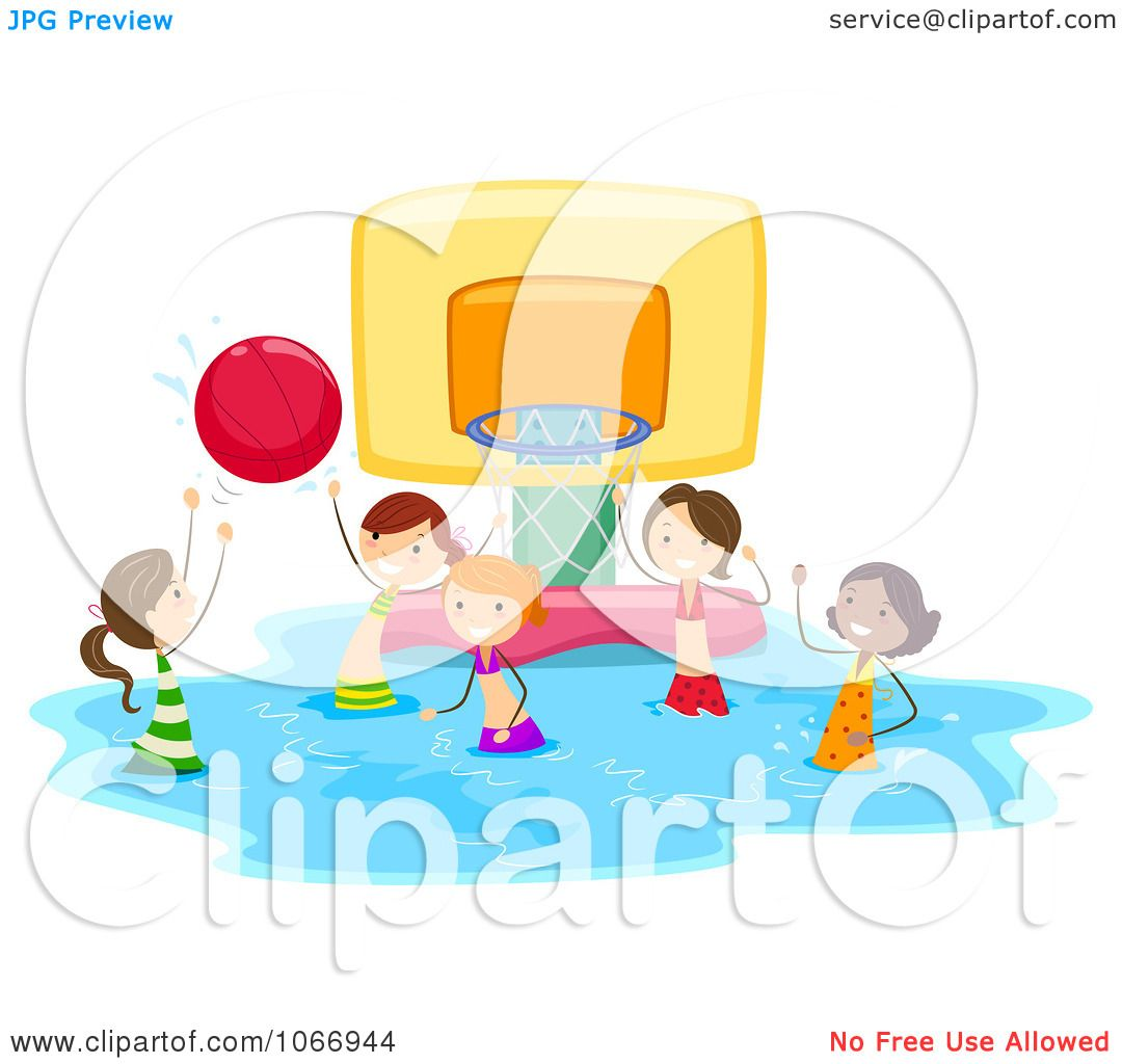 Clipart Stick Kids Playing Water Basketball.