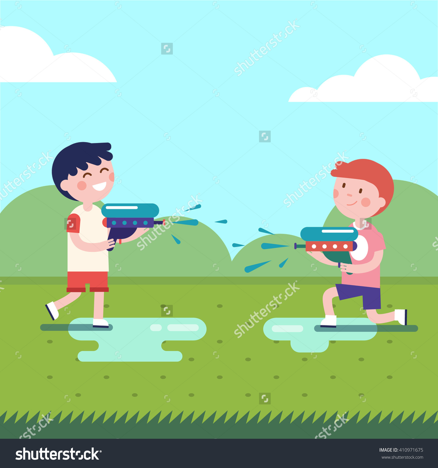 Two Boys Playing Water Guns Wars Stock Vector 410971675.