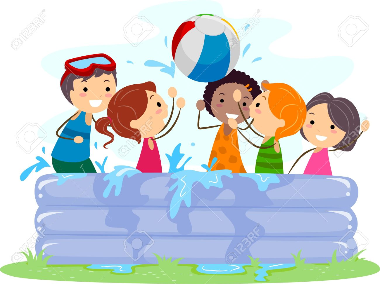 Illustration Of Kids Playing In An Inflatable Pool Stock Photo.