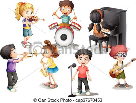 Kids playing different instruments.