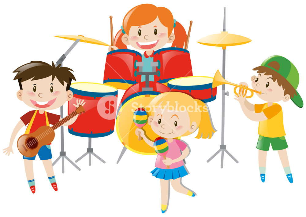 Children playing music in band illustration Royalty.