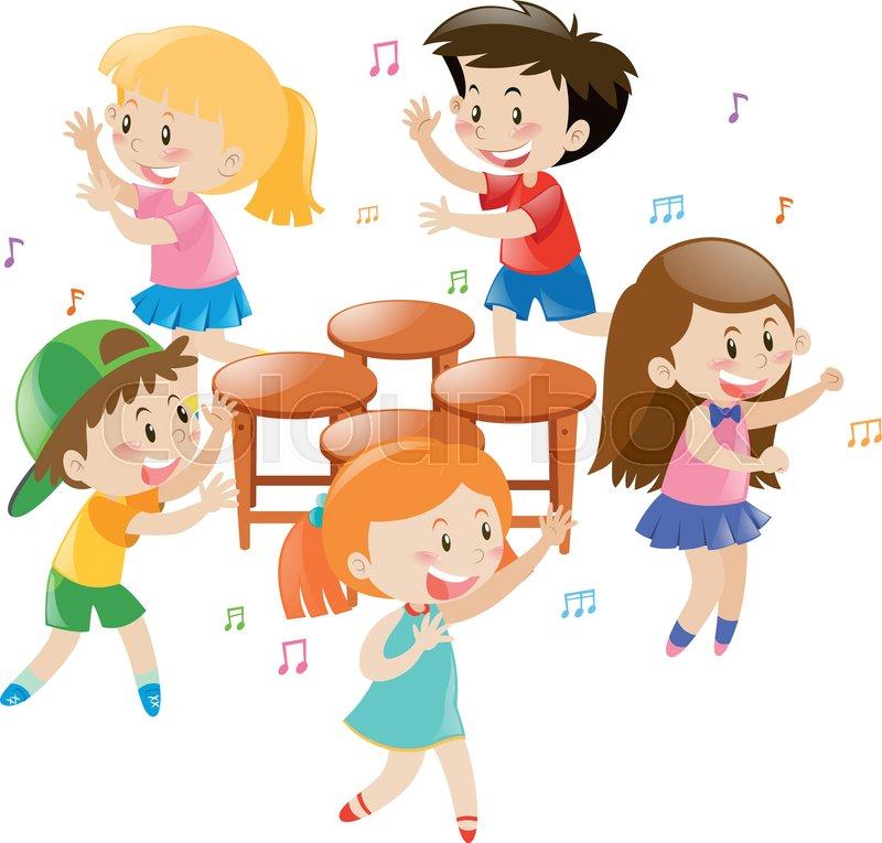 Children playing music chair.