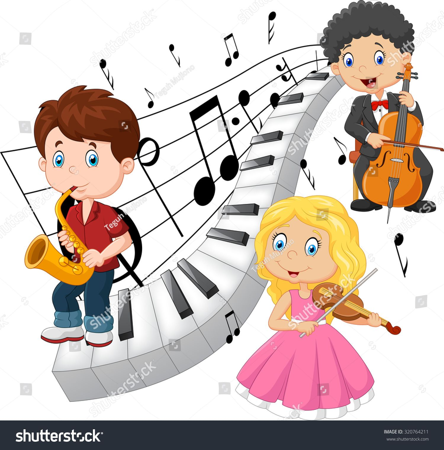 Little kids playing music with piano tone background.