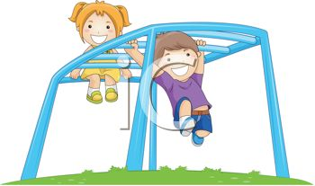 Royalty Free Clipart Image: Kids Playing on a Playground Monkey Bars.