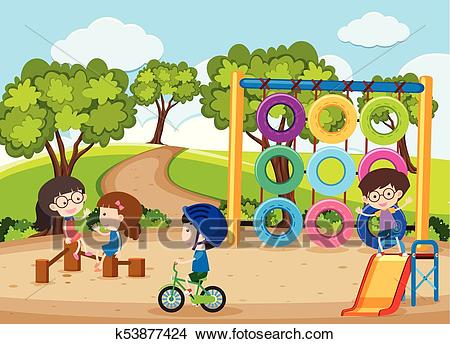 Four children playing in playground Clipart.