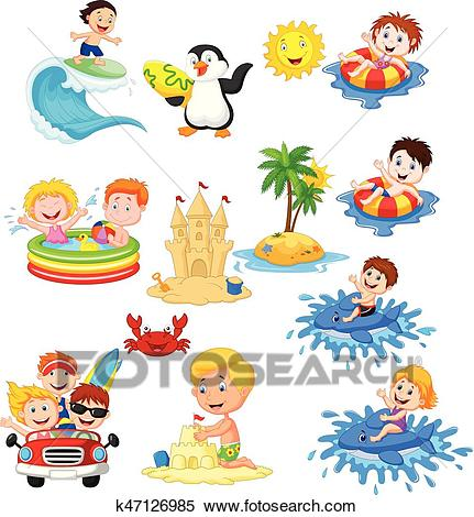 Cute little kids playing on the beach Clipart.