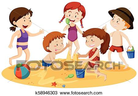 Kids Playing at the Beach Clipart.