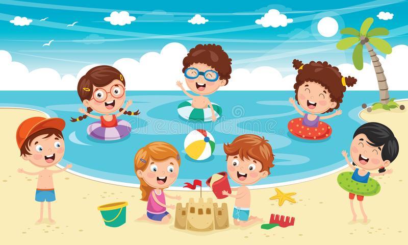 Kids Playing Beach Stock Illustrations.