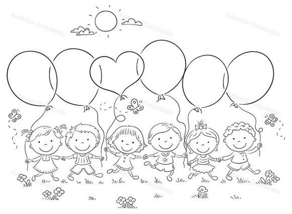 Happy kids outdoors with balloons with copy space. kids.