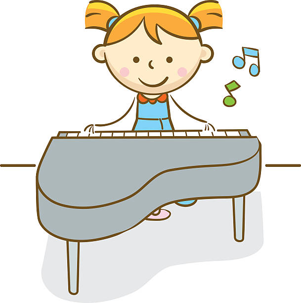 Kid Playing Piano Clipart.