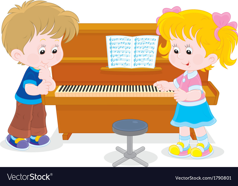 Children play a piano.