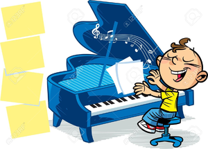 Children Playing Piano Clipart.