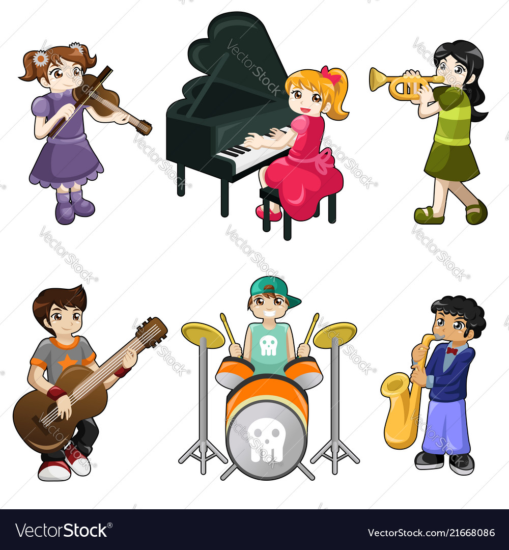 Different kids playing musical instrument.