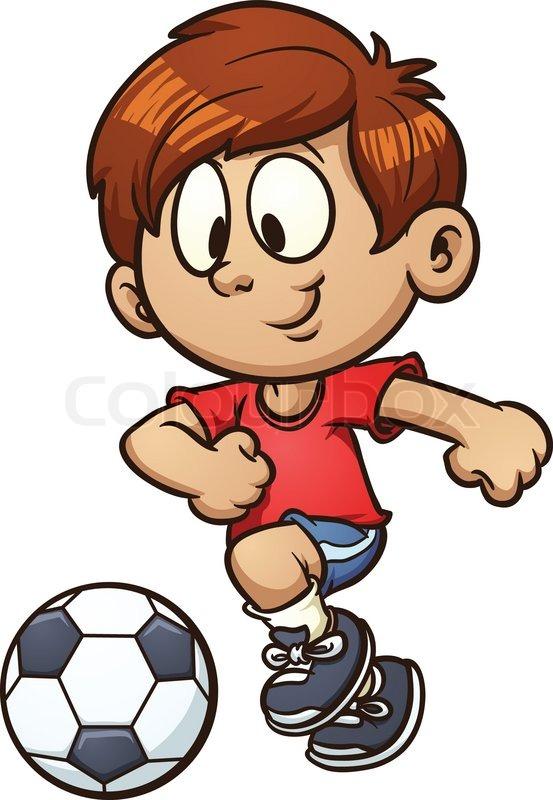Cartoon kid playing soccer. Vector.