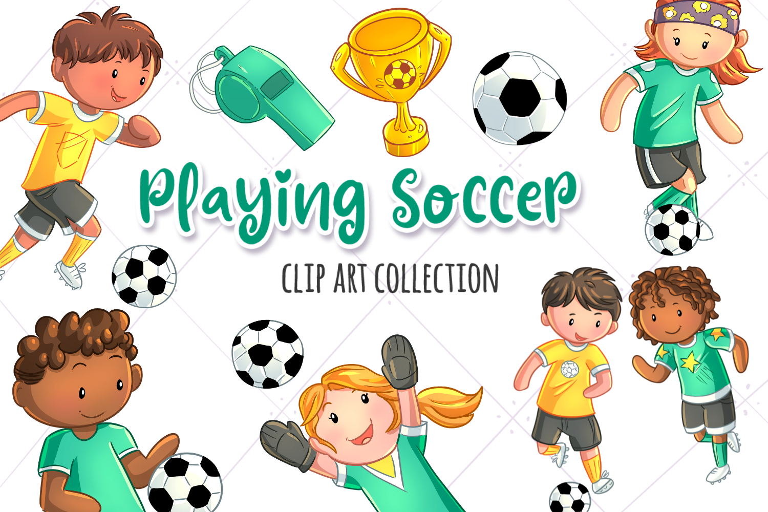 Kids Playing Soccer Clip Art Collection.