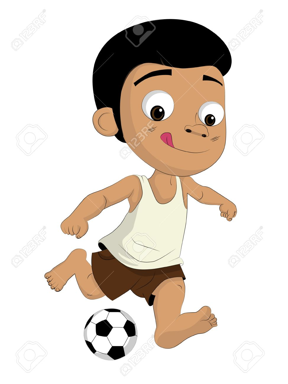 Kids kicking football.He is as poor But he loves to play football.clip...