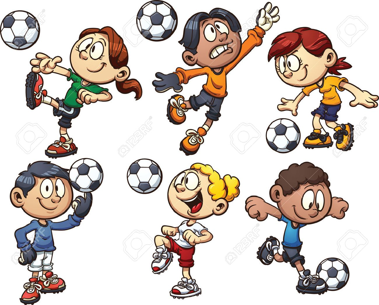 Cartoon kids playing soccer Vector clip art illustration with...