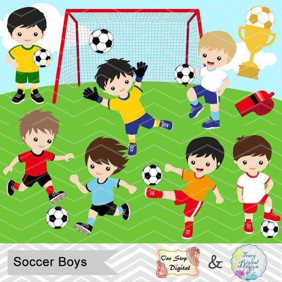Digital Boys Soccer Clipart, Boy Soccer Digital Clip Art, Sport.
