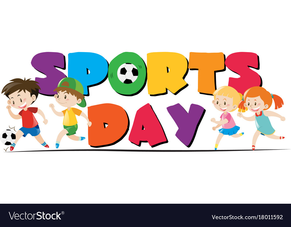 Sport day theme with kids playing sports.